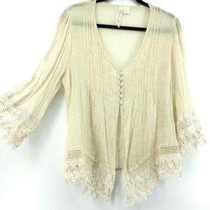Adiva | Button Front Pleated Crochet Hem Top
